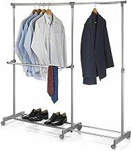 Rollgarderobe LONDON Garderobenwagen Kleiderständer Garderobenständer höhenverstellbar ausziehbar chrom/grau