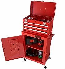 Rolling Tool Box Cabinet, 3Schubladen Portable Speicherlösung Brust Werkzeuge und Garage Organizer mit Rollen und ausziehbare Schubladen von treues (rot)