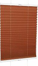 ROLLMAXXX Plissee Faltstore Faltrollo Rollo Fensterrollo Klemmfix ohne Bohren (130 x 160 cm, Orange)