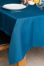 ROLLMAYER abwaschbar Tischdecke Wasserabweisend / Lotuseffekt (Melange Azurblau 347, 150x260cm) Leinenoptik Tischtuch mit pflegeleicht Fleckschutz, Rechteckig Quadratisch, Farbe & Größe wählbar