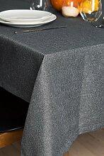 ROLLMAYER abwaschbar Tischdecke Wasserabweisend / Lotuseffekt (Melange Aschgrau 20, 150x280cm) Leinenoptik Tischtuch mit pflegeleicht Fleckschutz, Rechteckig Quadratisch, Farbe & Größe wählbar