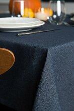 ROLLMAYER abwaschbar Tischdecke Wasserabweisend / Lotuseffekt (Melange Marineblau 80, 150x240cm) Leinenoptik Tischtuch mit pflegeleicht Fleckschutz, Rechteckig Quadratisch, Farbe & Größe wählbar