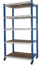 Rollregal Schwerlast 300kg, HxBxT: 188x100x60cm, 5 Böden, blau/lichtgrau (fahrbares mobiles Regal) (Szagato)