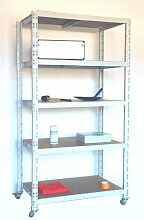 Rollregal Schwerlast 300kg, HxBxT: 188x100x60cm, 5 Böden, lichtgrau (fahrbares mobiles Regal) (Szagato)