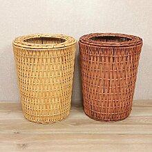 Rollsnownow Bambus und Rattan Weaving Mülleimer Home Office Einfache Toilette Toilettenkörbe Keine Abdeckung Mülleimer Natürliche Pflanze Rebe Pure Hand Weaving Mülleimer ( Farbe : Braun , größe : 8L )
