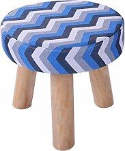 Rollsnownow Blau Grau Streifen dreibeinigen Hocker Runde Baumwolle Leinen Tuch Schuh Schuhe Waschbar Haushalt (28 * 28 * 25 cm)