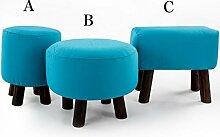 Rollsnownow Blau Kleiner Hocker Massivholz Hocker Ändern Der Schuhhocker Runde Hocker Sofa Kleine Bank ( design : C )