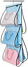 Rollsnownow Blau-weißer Punkt-Oxford-Stoff-Beutel-Aufbewahrungstasche-Garderobe-hängende transparente Aufbewahrungstasche Mehrlagentasche