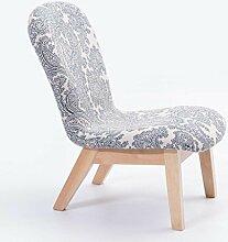 Rollsnownow Blauer Blumendruck Massivholz Niedriger Hocker Leinen Zurück Stuhl Einfach Ändern Schuhe Weiche Hocker Sofa Hocker Startseite ( Farbe : Wood color Stent )