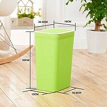 Rollsnownow Büro Presse Der Müll Badezimmer Küche Wohnzimmer Abgedeckte Clamshell Mülleimer Mülleimer ( Farbe : Grün )