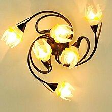 Rollsnownow Deckenleuchte Kuppel Licht Eisen und Glas gemacht gelb Farbe Blume Form Schatten Dekoration LED und Glühlampe E27 Kappe Wohnzimmer Esszimmer Küche Studie Schlafzimmer WC andere, Durchmesser 64cm