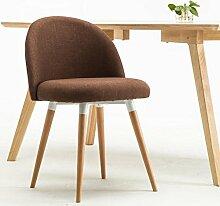 Rollsnownow Dunkelbrauner Leinen-einfacher Tuch-Stuhl Montieren Sie den Stuhl-Restaurant-feste hölzerne Stühle Kaffee-Aufenthaltsraum-Stuhl