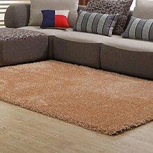 Rollsnownow Einfache und dicke Teppich Heim Wohnzimmer Teppich Couchtisch Teppich Schlafzimmer Sofa Bett Decke Champagner gemischtes Material rechteckig solide Muster 5 cm dick (170 * 120 cm)