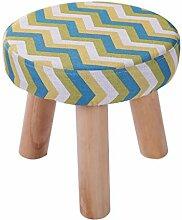 Rollsnownow Gelb-grün Streifen dreibeinigen Stuhl Runde Baumwolle Leinen Tuch Schuh Schuhe Waschbar Haushalt (28 * 28 * 25 cm)