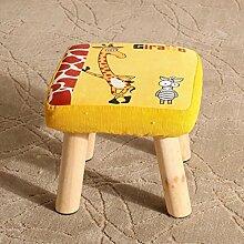 Rollsnownow Gelbe Giraffe Muster Platz Hocker Kleine Bank Schuh Kurzer Hocker Massivholz Stoff Sofa Hocker