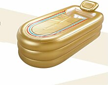 Rollsnownow Große verlängerte aufblasbare Badewanne verdickte erwachsene Badewanne Plastikwanne mit elektrischer Pumpe Gold (168 * 78 * 45 cm)