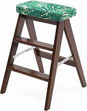 Rollsnownow Grünes Blatt Muster Massivholz Kreative Klappstuhl Einfache Klapptreppe Tragbare Hocker Bank ( Farbe : Brown wooden frame )