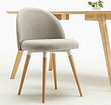 Rollsnownow Hellgrauer Leinen-einfacher Tuch-Stuhl bringen den Stuhl zusammen Restaurant-feste hölzerne Stühle Kaffee-Aufenthaltsraum-Stuhl