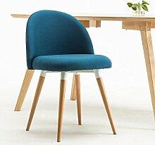 Rollsnownow Marineblau-Leinen-einfacher Tuch-Stuhl Montieren Sie den Stuhl-Restaurant-feste hölzerne Stühle Kaffee-Aufenthaltsraum-Stuhl