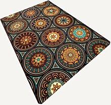 Rollsnownow Mode Persönlichkeit Retro Stil Teppich Matte Matte Tür Matten Couchtisch Teppich tief gelb chemischen Faser Material rechteckig 170 * 120 cm High-End-Qualität Schnitt Blume Muster hohe Dichte leicht zu reinigen Bett Pedal 1 cm dicke Wohnzimmer Zubehör