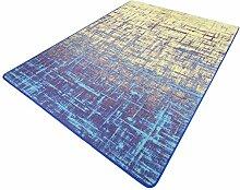Rollsnownow Moderne einfache Persönlichkeit abstrakte Kunst Teppich Wohnzimmer Couchtisch Sofa Schlafzimmer Pad Paddle Indigo blau Baumwolle Material rechteckig 130 * 80 cm geometrische Muster tragen Anti-Rutsch-Bett Seite Pedal Pad 0,6 cm dick abstrakte Stil zu Hause