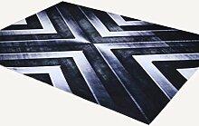 Rollsnownow Moderner Stil Wohnzimmer Teppich Matte Matte Tür Matten Couchtisch Teppich schwarz Polyester Material Metall Sturm Muster rechteckig 160 * 100 cm langlebig High-End-Qualität waschbar Bettpfeiler 1 cm dick Wohnzimmer Zubehör Sofa großen Teppich abstrakten Teppich