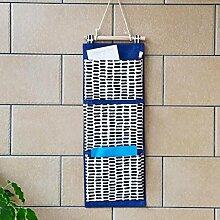 Rollsnownow Navy Blue Drei Mund Tür hinter der Wand Hängetasche Debris Collection Bag Container (53 * 20cm)