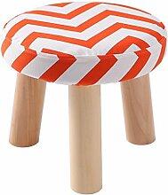 Rollsnownow Orange Streifen dreibeinigen Stuhl Runde Baumwolle Leinen Tuch Schuh Schuhe Waschbar Haushalt (28 * 28 * 25 cm)