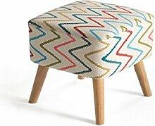 Rollsnownow Rainbow Stripes Leinen Massivholz ändern den Schuhhocker Sofa Hocker Bett Hocker niedrigen Hocker ( Farbe : Wood color Stent )