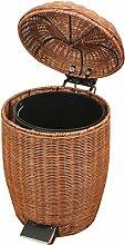 Rollsnownow Rattan Mülleimer Wohnzimmer Wohnzimmer Mülleimer Covered Pedal Mülleimer Natürliche indonesische Rattan Pure Hand Weaving Mülleimer ( Farbe : Braun , größe : 12L )
