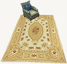Rollsnownow Retro-Stil Teppich Matte Matte Tür Matten Couchtisch Teppich gemischte Material rechteckige 120 * 80 cm High-End-Qualität Schere Muster High-Density-Bett Pedal 1 cm dicke Wohnzimmer Zubehör