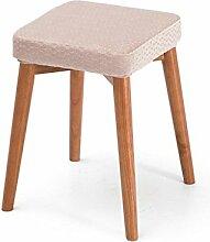 Rollsnownow Rosa Welle Punkt Kissen Massivholz Hocker Kreative Mode Schminktisch Tuch Tisch Hocker Hause Kleine Bank ( Farbe : Wooden wooden frame )