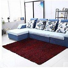 Rollsnownow Teppich Verschlüsselung Verdickung Fahne Garn 1200D Seide Material rechteckig Einfarbig Muster 5 cm dick schwarz rot (180 * 120 cm)