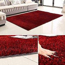 Rollsnownow Teppich weich und bequem hochwertig Polyester Seide + helles Drahtmaterial Rechteckiges Farbmuster 3cm dick schwarz und rot (170 * 120 cm)