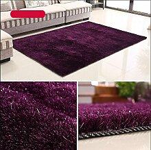 Rollsnownow Teppich weich und bequem hochwertig Polyester Seide + helle Draht Material rechteckige Farbe Muster 3cm dick lila (141 * 71 cm)