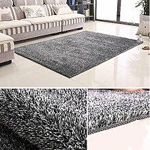 Rollsnownow Teppich weich und bequem hochwertig Polyester Seide + helles Drahtmaterial Rechteckiges Normalmuster 3cm dick schwarz und weiß (170 * 120 cm)