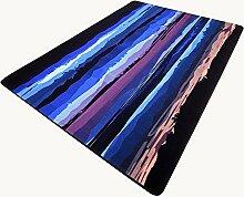 Rollsnownow Teppich Wohnzimmer Couchtisch Sofa Schlafzimmer Pad dunkelblau Baumwolle gefüttert Material rechteckig 160 * 100 cm geometrische Muster tragen Anti-Rutsch-Bett Seite Pedal Pad 0,6 cm dicken abstrakten Stil Teppich moderne Retro-Persönlichkeit abstrakte Kuns