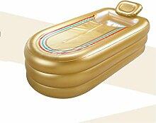 Rollsnownow Verlängern aufblasbare badewanne dicke erwachsene badewanne kunststoff bad gold farbe mit einer manuellen pumpe (168 * 78 * 45 cm)