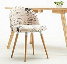 Rollsnownow Weiße Buchstaben-Muster-Leinen-einfacher Tuch-Stuhl Montieren Sie den Stuhl-Restaurant-feste hölzerne Stühle Kaffee-Aufenthaltsraum-Stuhl