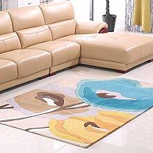 Rollsnownow Wohnzimmer Schlafzimmer Teppich Türmatten Couchtisch Teppich Gelb Blau Acryl Material Blumenmuster Rechteck 170 * 120 cm Anti-Rutsch-Pedal 1 cm dick Wohnzimmerzubehör Sofa Großer Teppich Hirtenstil