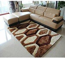 Rollsnownow Wohnzimmer Schlafzimmer Tür Matte Couchtisch braun braun weiß gemischt Material sechseckigen Muster rechteckig 170 * 120 cm Verschlüsselung Anti-Rutsch-Fuß-Pad 2 cm dick Wohnzimmer Zubehör Sofa großen Teppich weich und komfortabel zu Hause