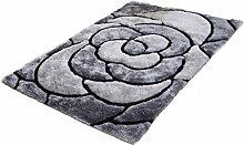 Rollsnownow Wohnzimmer Schlafzimmer Tür Matte Matte Couchtisch grau Polyester Material Blütenblatt Muster rechteckig 170 * 120 cm Verschlüsselung Anti-Rutsch-Fuß-Pad 3,5 cm dick Wohnzimmer Zubehör Sofa großen Teppich einfache Mode zu Hause
