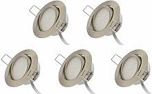 Rolux LED Einbaustrahler 5er Set matt-chrom 5W