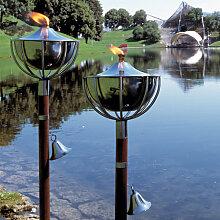 Roma Gartenfackel 2er Set 160 cm Edelstahl