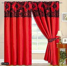 Roman Vorhang Ornament BAROCK Rot Gardinen mit