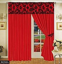 Roman Vorhang Ornament Barock Rot Schwarz Gardinen