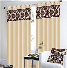 Roman Vorhange Schal mit Ösen Beige Braun Vorhang