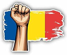 Romania Flag Hand - Self-Adhesive Sticker Car