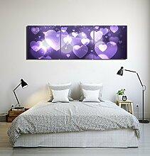 Romantische Dekoration,herzförmiges Muster,lila_Wandkunst Ölgemälde Bild Druck auf Leinwand Home Dekoration,3 Panel,40x 40 CM,kein Rahmen
