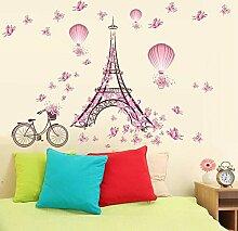 Romantische Eiffelturm Liebe Paar Wandaufkleber